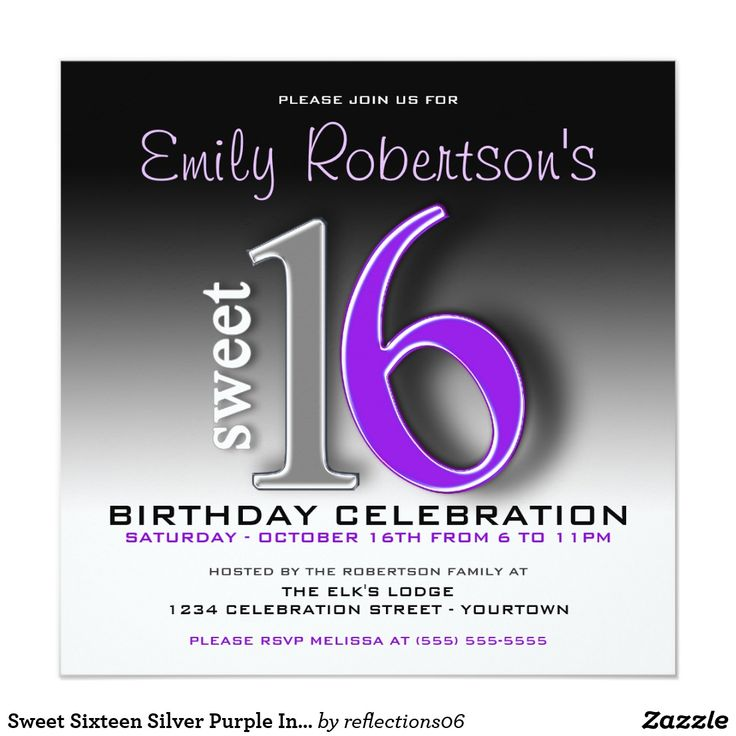 Sweet Sixteen Silver Purple Invitations Cute, modern and classy sweet sixteen party invitations for her special day.