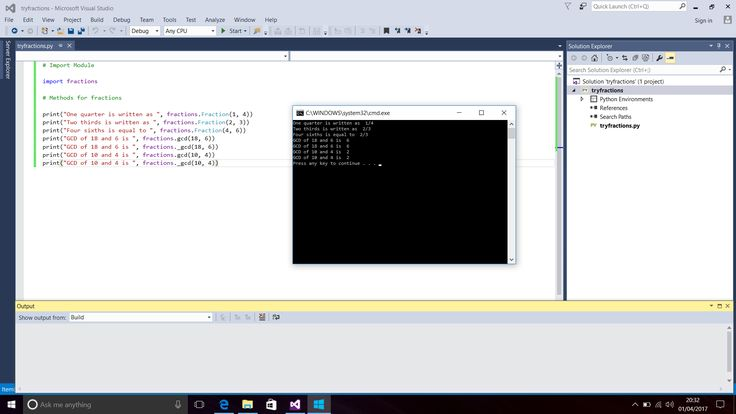 Screenshot of Python Code and Console Window for Fraction Methods.  Text Editor - Visual Studio 2015 (Windows 10).  Taken on 1 April 2017.