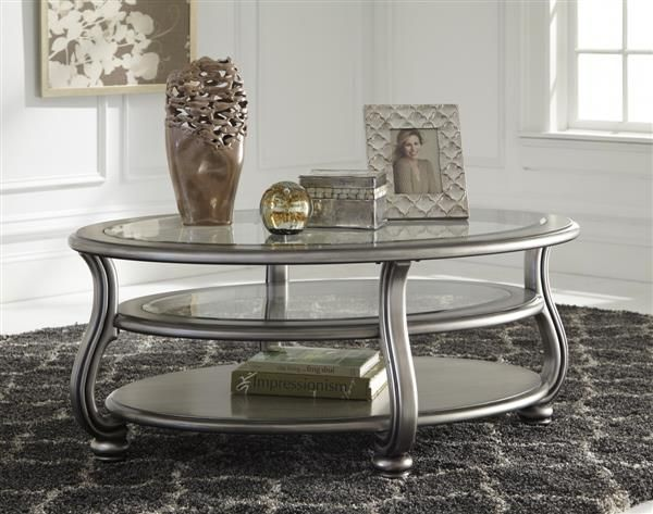 Coralayne Old World Silver Metal Glass Oval Cocktail Table W/2 Shelves