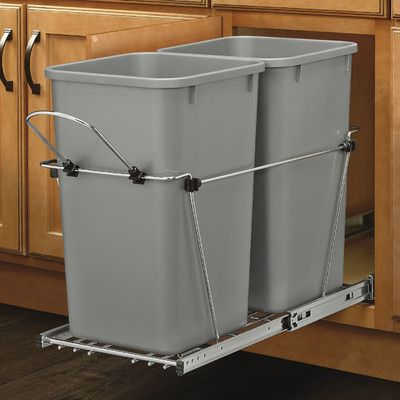 Rev-A-Shelf Double 6.7 Gallon Roll Out Waste Container & Reviews | Wayfair