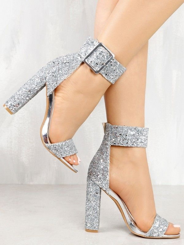 0329cd97bd Stylish Sequin Open Toe Chunky Heeled Sandals | shoes chica in 2019 ...