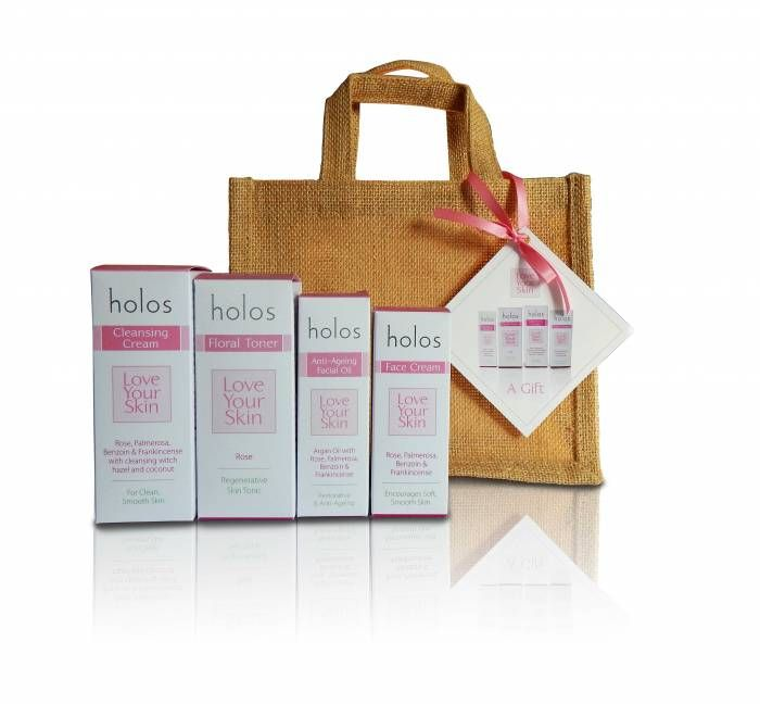 Suite of Skincare.... Love Your Skin from Holos.  4 Piece Gift Set includes,With Rose, Palmerosa, Benzoin & Frankincense.  Incl Cleansing Cream 100ml, Floral Toner 100ml, Anti Ageing Facial Oil 30ml & Face Cream 50ml