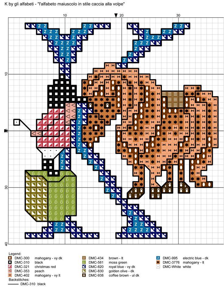 alfabeto maiuscolo in stile caccia alla volpe K