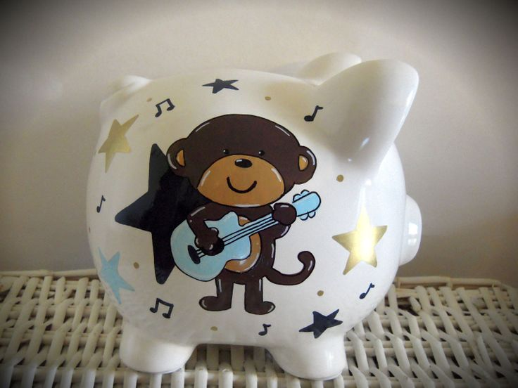 Personalized Hand Painted Piggy Bank With Rockstar Monkey Theme. $30.00, via Etsy.