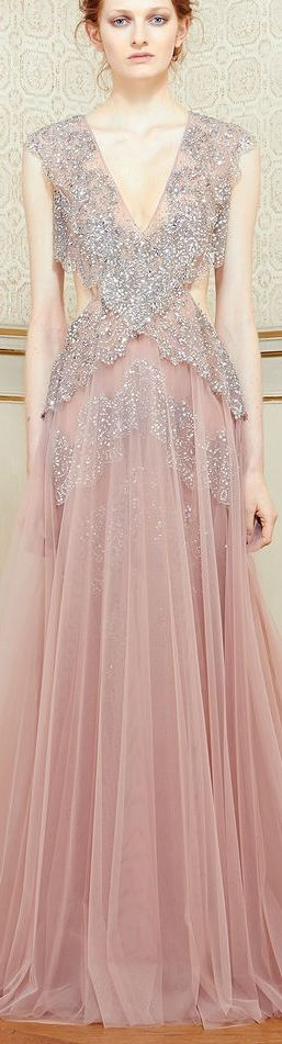 Alternating layers of silver-grey lace and antique-pink chiffon! Gorgeous!!! ~ Rami Al Ali 2014
