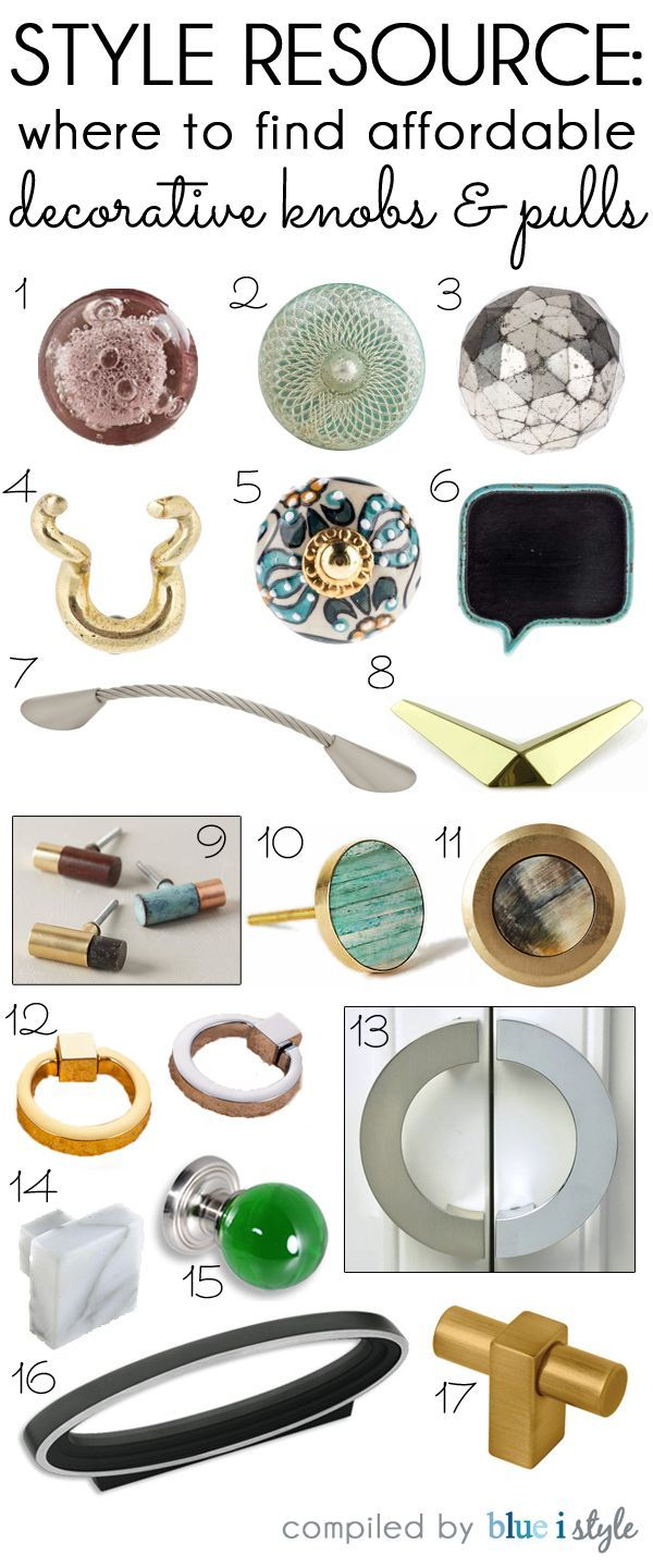 STYLE RESOURCE: Where To Find Affordable Decorative Knobs And Pulls.  Updating The Hardware On