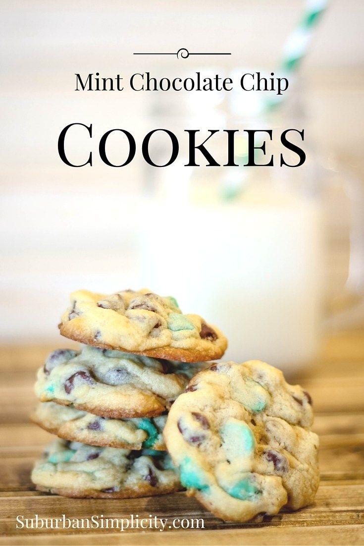 Mint Chocolate Chip Cookies #cookierecipe