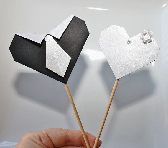 Origami Wedding Heart Couple Cake Toppers.Handmade Origami cake topper.Origami wedding.Cake picks.Black&white.Cake topper.Set of 2