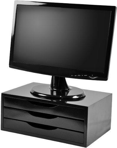 Suporte Para Monitor Com 3 Gavetas Mdf Black Piano - R$ 89,99