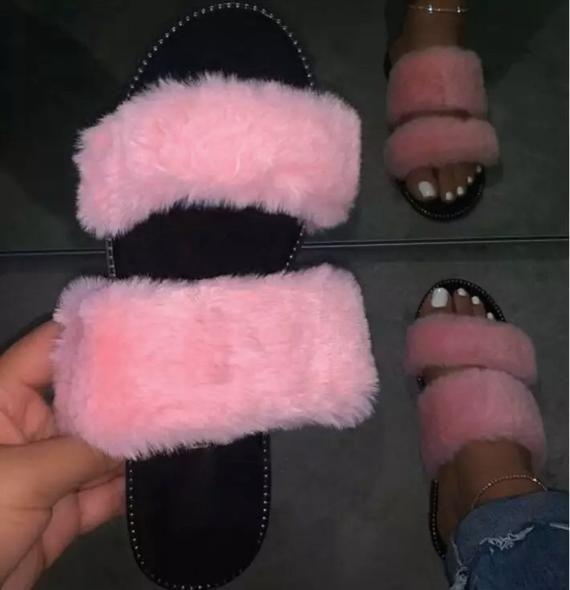 Fur Sling Slip on Double Strap Slipper