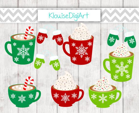 Christmas Winter Hot Cocoa Drinks and Mittens by KlouiseDigiArt