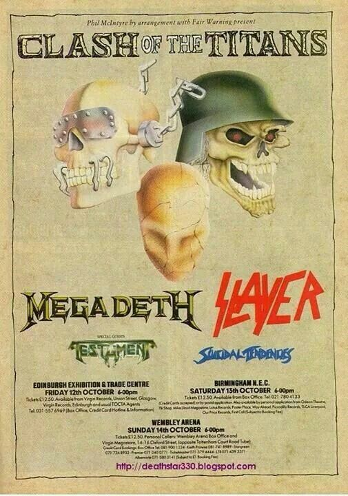 Slayer/ Metal Church/ Overkill, November 1986 at the Grand Olympic Auditorium, L.A., California.