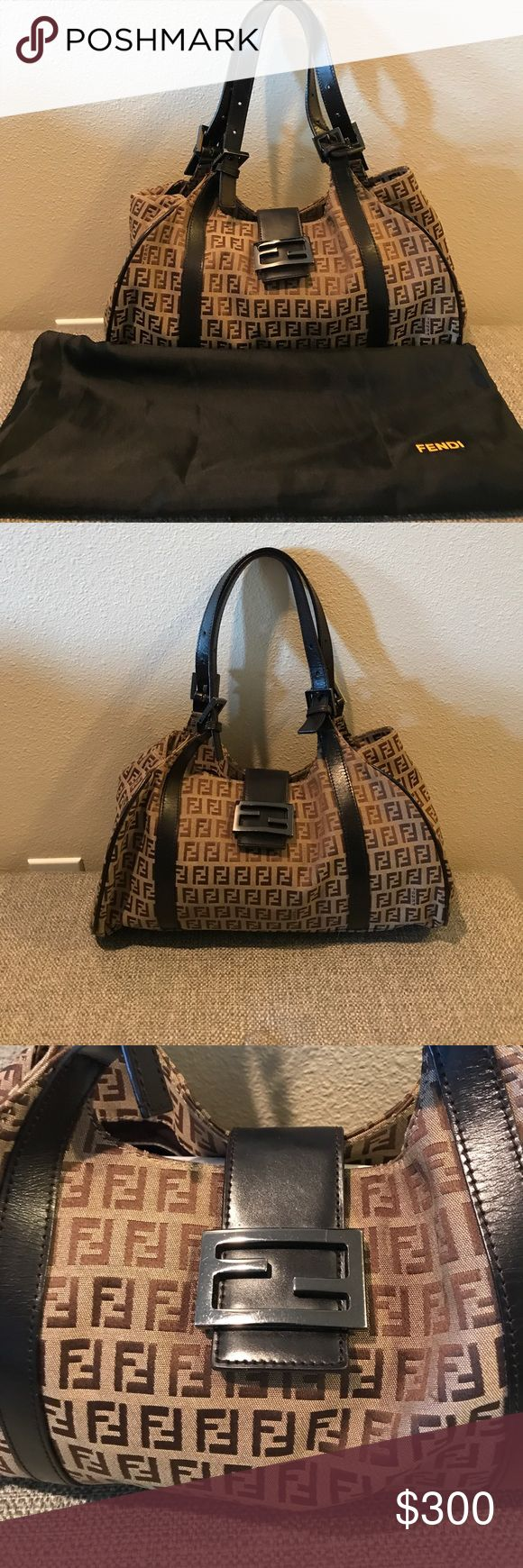"Fendi ""Zucca"" purse Serious buyers only.💯% Authentic, pre-owned, Fendi Zucca shoulder bag. Hobo satchel leather trim, canvas monogram. Clean, smoke free home, good condition, minimal wear/tear on straps/leather trimming, & hardware (not noticeable). One screw missing from the hardware ( where u close bag) Snaps perfectly fine. Easy repair by placing a screw. Dust bag is included, lost the authenticity card, hologram sticker fell off. Vintage. Willing to lower the price (offer is firm…"