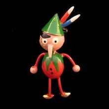 SOLD 'Puffed' Pinocchio Pin - Red and Green with a Feathered Cap