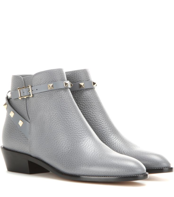 Valentino Rockstud leather ankle boots Light Grey           $199.00