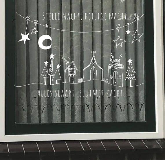 Stille nacht, Heilige nacht, ...... Een van de populairste #Kerstliedjes! Maak deze #DIY #raamdecoratie voor de #Kerstmis met dit direct te downloaden #sjabloon voor een #raamtekening. Te koop in #etsyshop #krijtstifttekening ontwerp door #cecielmaakt