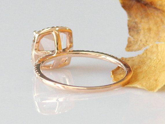 Corte de la princesa 6mm puro anillo 14k oro rosa anillo puro