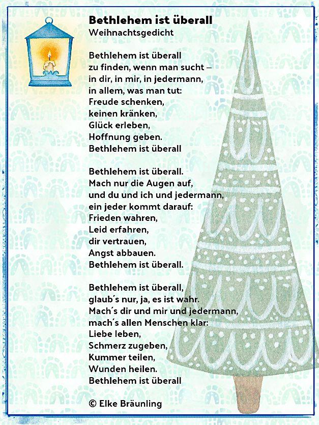 Bethlehem ist überall Weihnachtslied Bethlehem ist überall zu finden, wenn man sucht – in dir, in mir, in jedermann, in allem, was man tut: Freude schenken, keinen kränken, Glück erleben, Hof…