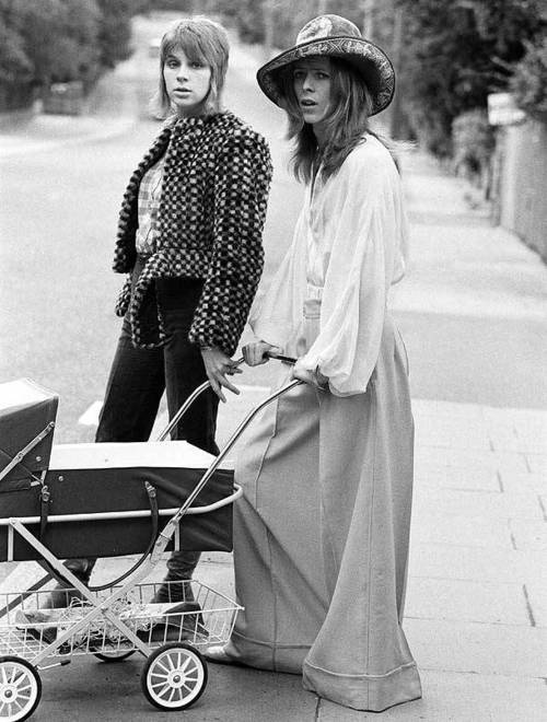 David & Angela Bowie out for a walk with their son Zowie, 1971.