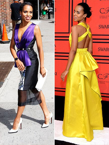KERRY: THE WORLD'S BEST DRESSED WOMAN Nominated By: PEOPLE Editors Why We Chose Her: Washington and her character on Scandal, Olivia Pope, have little in common except for this: impeccable style that results in haute hit after hit and nary a miss.