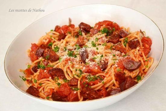 Recette de Spaghettis au chorizo, tomates et piment doux du Chili : la recette facile