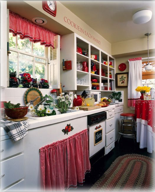 red and white gingham twisted rod covers, cabinet curtains, sm appliance covers/red throw rugs/black appliances/black and white tile floor, checkered/cabinets white- if open, black background in cabinets/gingham cabinet lining