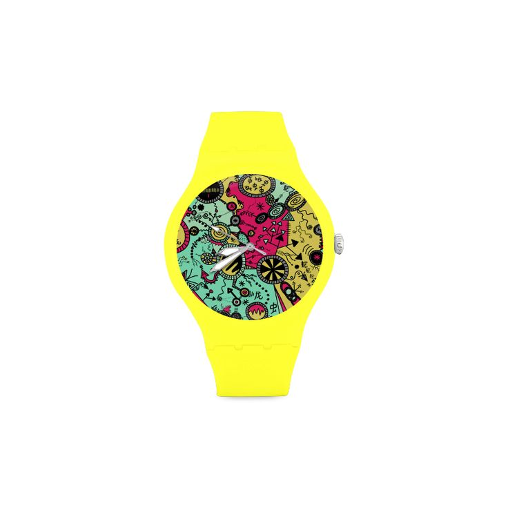 Comic Doodle Illustration in Colour Unisex Round Rubber Sport Watch(Model 303)