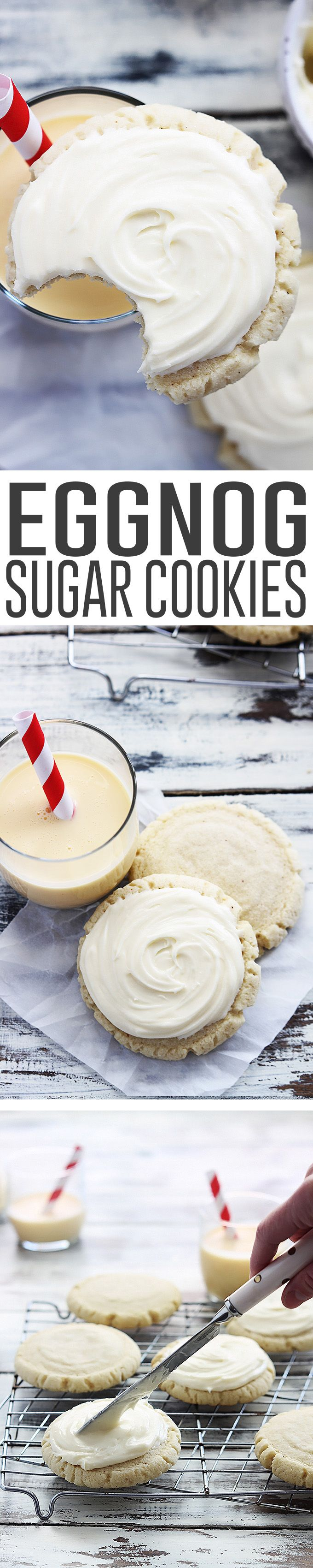 Soft and moist eggnog sugar cookies with fluffy eggnog frosting!