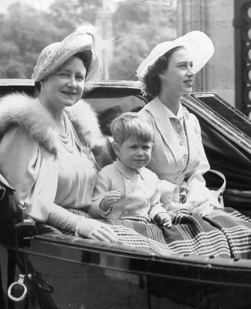 teatimeatwinterpalace: Queen Elizabeth (The Queen Mother), Prince Charles and Princess Margaret at Trooping the Colour, June 7, 1951