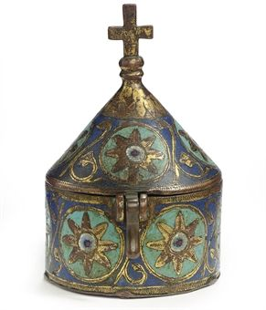 A LIMOGES CHAMPLEVE ENAMEL AND GILT-COPPER PYX, 13th Century