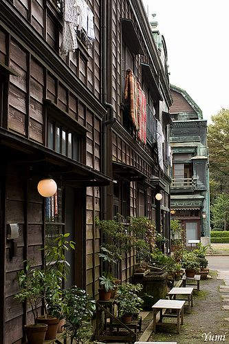 Merchant houses in Japan.