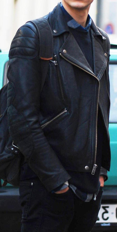 Modern Black Leather Moto Jacket, Men's Fall Winter Fashion.