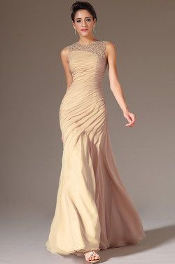eDressit 2014 New Champagne Round Neck Applique Sheer Top Evening Dress (02144446) - USD 197.14