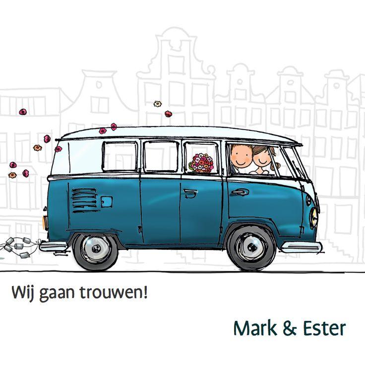 Trouwkaart Spijltje T1 bus, super leuk en origineel, getekend door Anet van de Vorst.