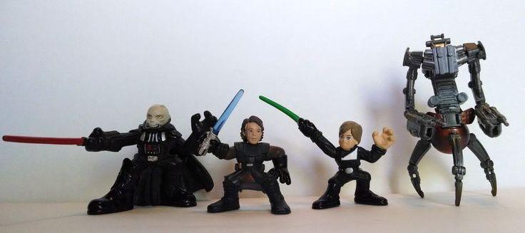 Lot of 4 Star Wars Galactic Heroes Figures Darth, Luke and Annakin Skywalker