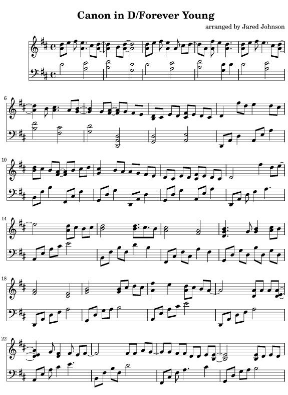 Free Piano Sheet Music - Canon in D / Forever Young -- Hear it here:  #flychord #flychordpiano #dp420k