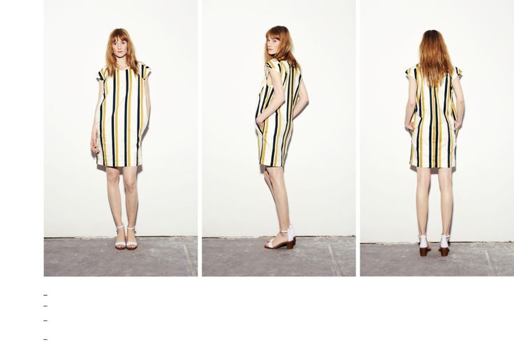 Sleeveless dress with vertical gold-dark green stripes.