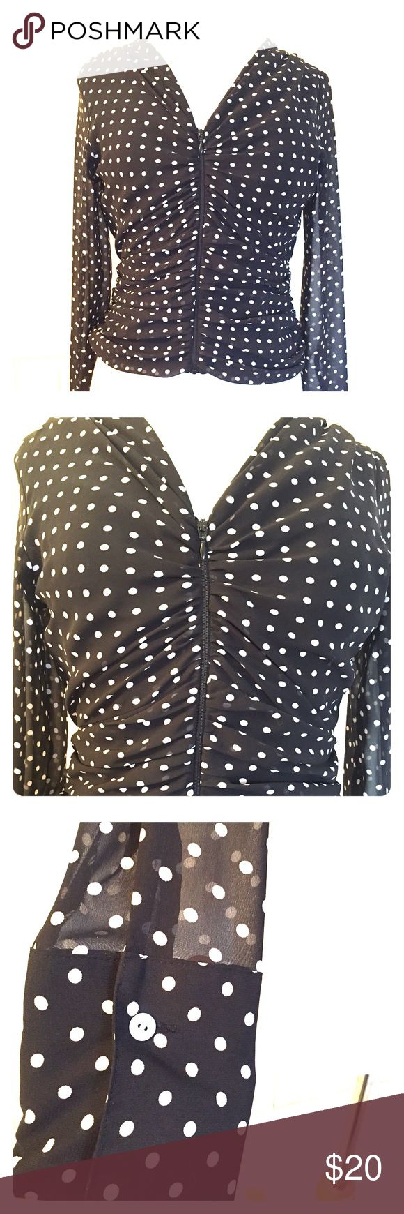 Black polka dot dressy zip up long sleeve top This is a super adorable only worn once zip up top. It's wears like a jacket or cover up and feels like silk. 100% polyester, the body is lined on the interior and the sleeves are sheer. Form fitting. Size small by Le Caviar. Tops Blouses