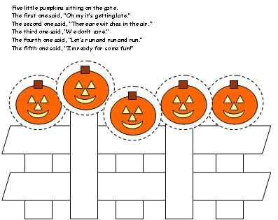 5 little pumpkins sitting on a gate printable | Five Little Pumpkins, a Singable Picture Book