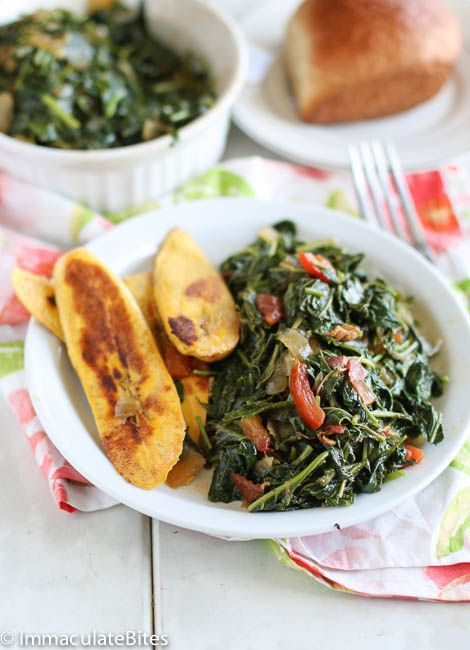 Jamaican Style Callaloo - omit the bacon for vegan. Tried this with jalapeno and it wasn't bad, but would be better with the scotch bonnet