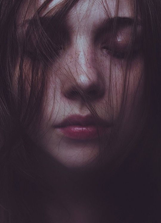 I like this photograph due to model having her eyes closed with strands of hair over her face, helping to create an artistic and moody feel.