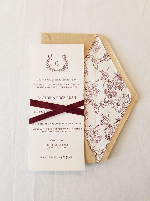 This Package Includes Light Kraft Envelope With Printed Liner Invitation Single Layer On One Side Velvet Belly Band Rsvp