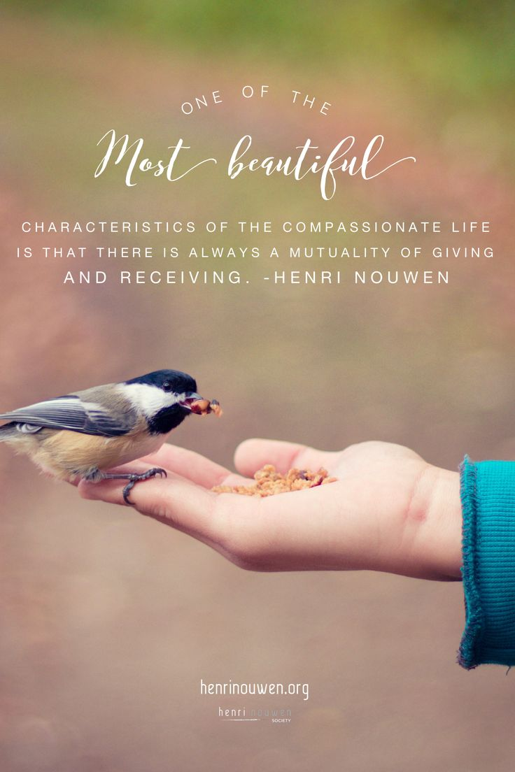 """One of the most beautiful characteristics of the compassionate life is that there is always a mutuality of giving and receiving.""  – Henri Nouwen (A Spirituality of Caregiving)  #HenriNouwen #compassion #giving #christianquotes  For more inspiration, visit www.henrinouwen.org"
