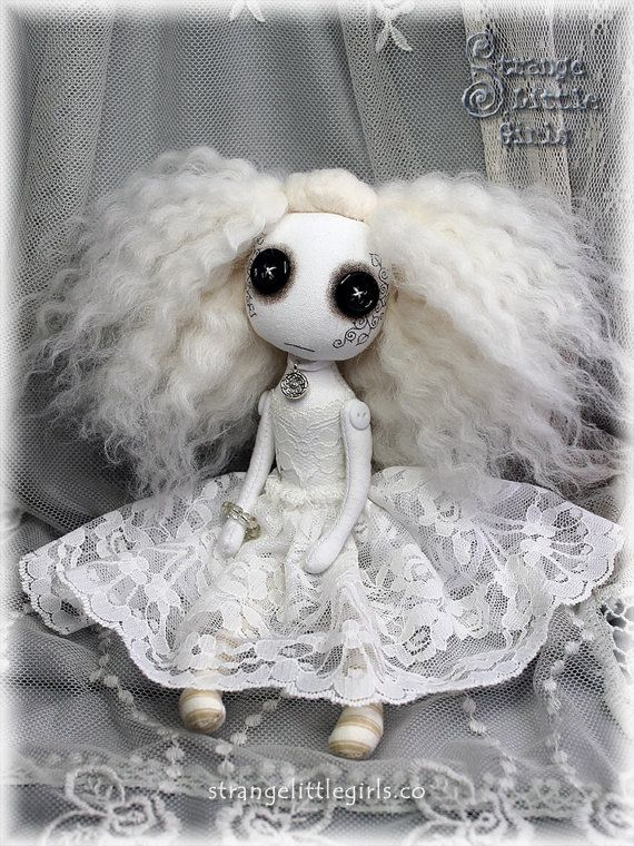 Gothic ghost art doll with button eyes (small) - Paloma Skyborne