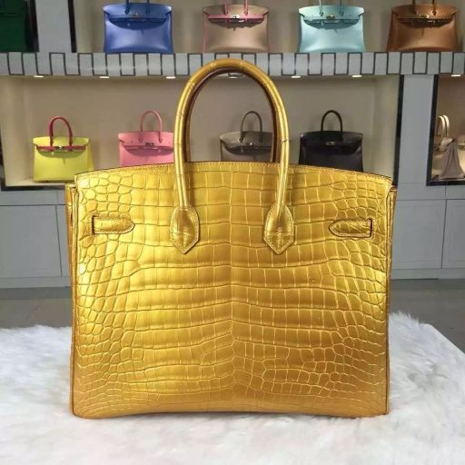 Hermes birkin 35CM sew crocodile leather 35CM gold bag