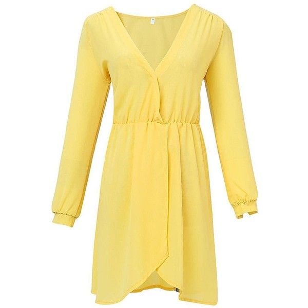 Yoins Yellow V Neck Mini Dress (16 CAD) ❤ liked on Polyvore featuring dresses, yellow, short wrap dress, beige dress, short dresses, mini dress and wrap dress