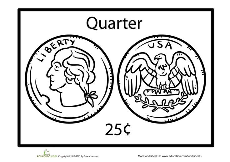 Quarter Coloring Page Coloring Pages Worksheets School Worksheets