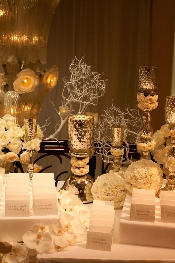 GORGEOUS!  Love the silver with flowers.  Mindy Weiss Beverly Hills Hotel Wedding - Inspired By This