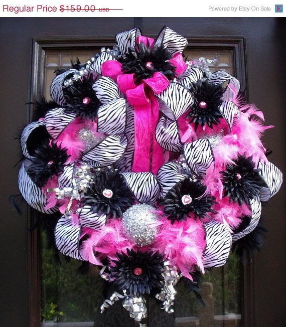 Hot Pink Zebra Wreath, Christmas Wreath, Princess Wreath, Feather Wreath. $143.10, via Etsy.