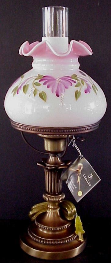 Fenton Trailing Floral On Rosalene Student Lamp LE MIB FREE SHIPPING TO  LOWER 48 In Pottery